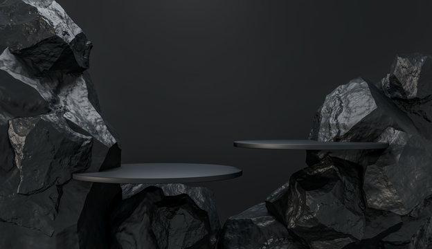 Stone and Rock shape 3d render illustration. Round podium, pedestal for brand product exhibition. Solid dark black color. Mockup template for ads design.