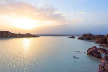 Danakil salt flats in sunset, Ethiopia