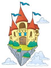 Zelfklevend Fotobehang Voor kinderen Flying castle theme image 1
