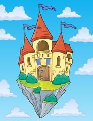 Zelfklevend Fotobehang Voor kinderen Flying castle theme image 2