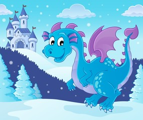 Self adhesive Wall Murals For Kids Winter dragon theme image 1