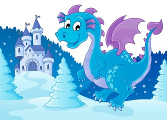 Zelfklevend Fotobehang Voor kinderen Winter dragon theme image 2