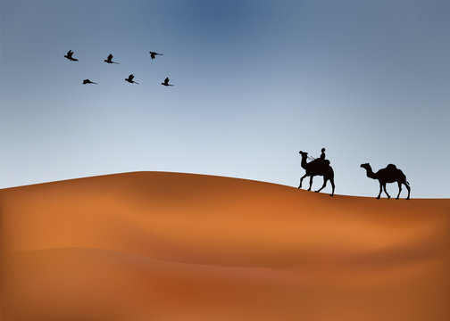 Caravan with camels on the desert with mountains on background. Vector illustration design. Designed by alfaysal3600@gmail.com #alfaysal360 #illustration #banglarfreelancer #landscape