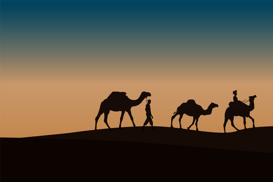 Two Caravan with camels in the desert with mountains on background. Vector illustration designed by alfaysal360.