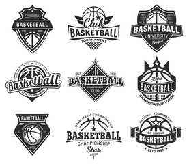 Set of isolated vector vintage basketball emblem