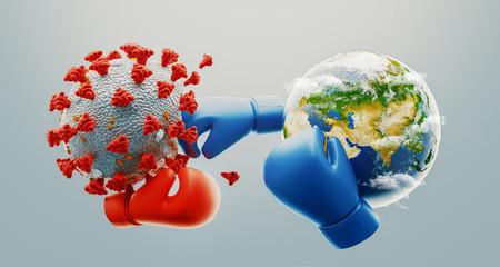 The world vs coronavirus. The world fight against Corona virus with boxing gloves. Concept of fight against virus. 3d rendering