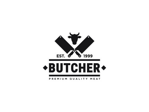 Vintage Retro Butcher shop label logo design