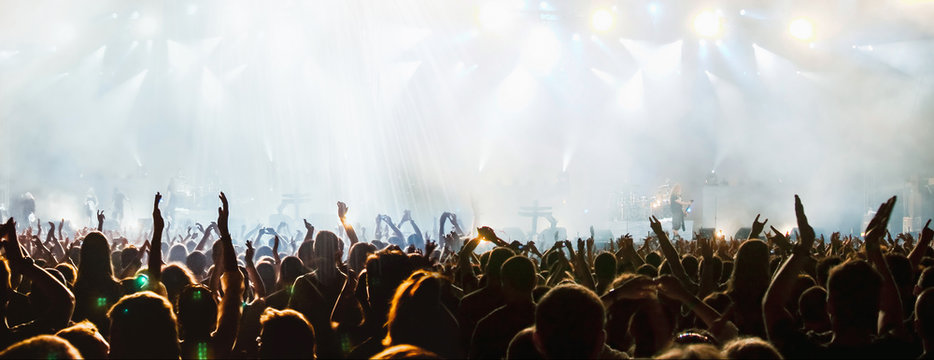 banner of cheering crowd and stage lights with space for your text