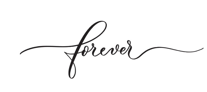 Forever typography lettering quote, brush calligraphy banner with  thin line.