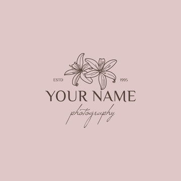 Lily flower logo design template in simple minimal linear style. Vector floral emblem and icon for Wedding Photographers