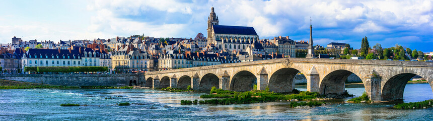 Travel and landmarks of France. medieval town Blois, famous royal castle of Loire valley