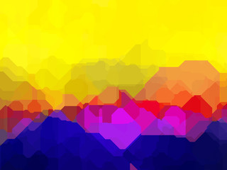 Foto auf AluDibond Gelb Abstract colorful landscape surreal geometric design
