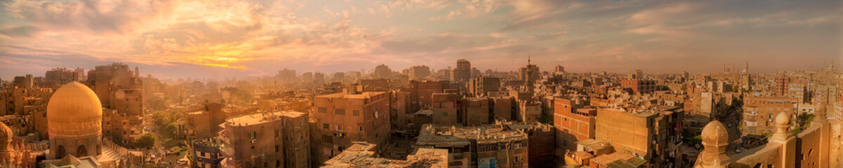 panoramic view for Old Cairo from the top of Sarghatmish mosque and School Minaret  Papier Peint