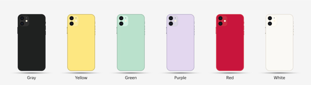 Realistic Smartphone in Vector Style. Different colors (gray,yellow,green,purple,red,white).