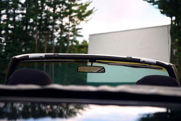 Printed roller blinds Vintage cars View of outdoor drive-in movie theater screen from classic car