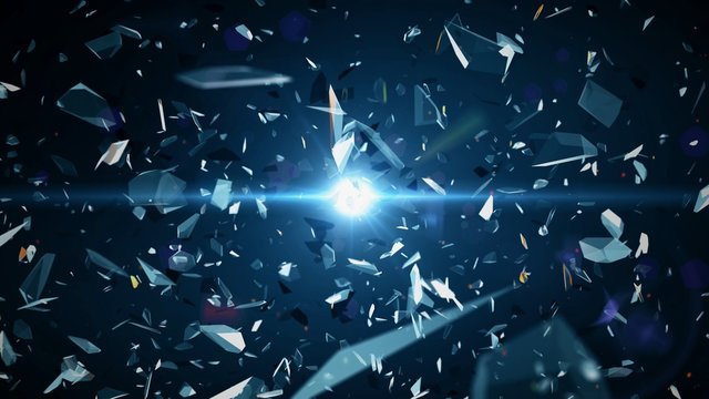 abstract shattered glass pieces on space