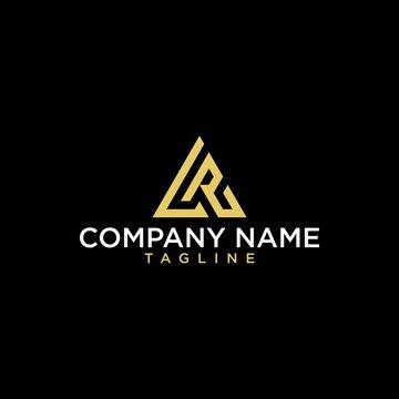 Geometric letter LR  or AR logo design. Modern luxury intial logo vector.