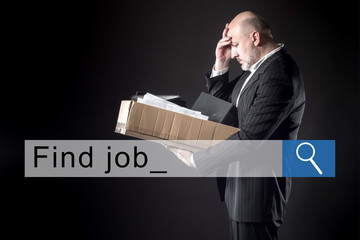 Hopeless condition of a person who has lost his job. Unsuccessful job search. A job search bar...