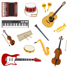 Musical instruments. A large set of musical instruments. Vector illustration.