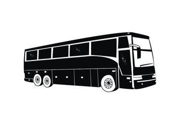 Vector public bus silhouettes. City Bus outline vector illustrations.