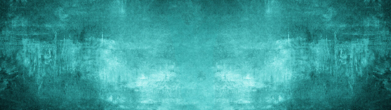 Abstract dark aquamarine turquoise concrete stone paper texture background banner, trend color 2020