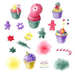Color pencils hand painted sweet christmas cupcakes, gingerbreads and abstract spots. For menu templates, greeting postcards, pastry shop decoration. Hand painted illustration.