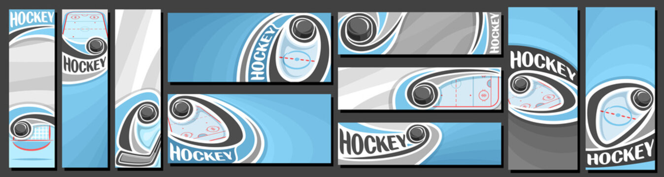 Vector set of Hockey Banners, vertical and horizontal decorative art templates for ice hockey events with illustration of sport ice rink and sliding on curve trajectory hockey puck on blue background.