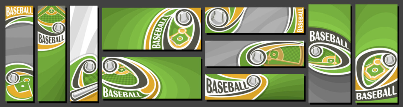 Vector set of Baseball Banners, vertical and horizontal decorative art templates for baseball events with illustration of sport field and flying on curve trajectory baseball ball on grey background.