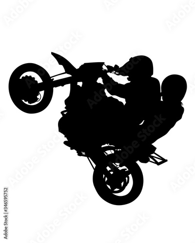 Wall mural Man and women in protective clothing rides a sports bike. Isolated silhouette on a white background