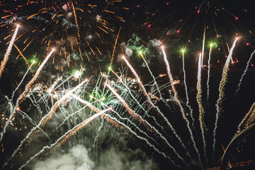 Bright colorful festive fireworks on the black sky