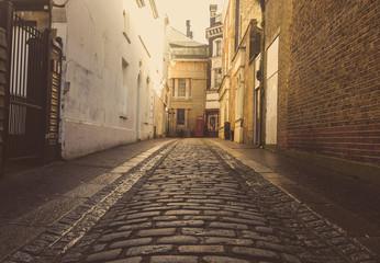 Foto auf Gartenposter Schmale Gasse Alley Amidst Building In City