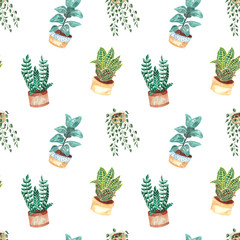 Aluminium Prints Plants in pots Seamless pattern with hand-painted watercolor indoor plants in flower pots. Decorative background of greenery is ideal for fabric textiles, paper, interior