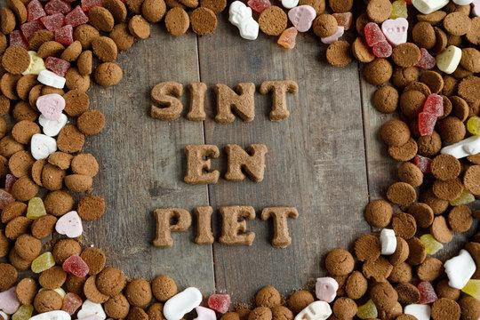 Sint en Piet means Santa and Pete. Dutch mixed candy and pepernoten eaten during Sinterklaas feast