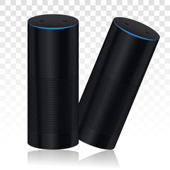 Smart speaker virtual assistants voice recognition flat icon for apps and websites