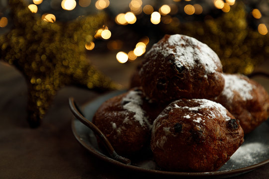 Dutch oliebollen or dougnut balls with sugar for New Years Eve