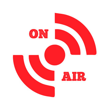 Live on Air icon Vector. Radio On Air, modern trend design. live streaming icon. Red symbols and buttons of live streaming, broadcasting, online stream. NEW 2020. Stay home.