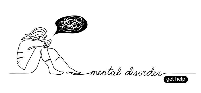 Psychologist support simple vector background, web banner. Get help button. Minimal sketch illustration. Mental disorder lettering.