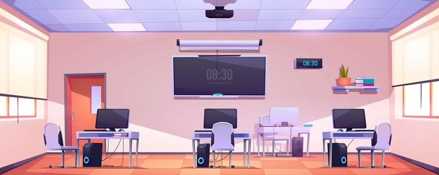 Computer class, open space office interior. Empty school, modern business workplace, room for coworking or studying. Cabinet with furniture, pc on desks, tv screen, windows cartoon vector illustration