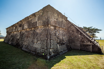 Temple of the Feathered Serpent in Xochicalco. Archaeological site in Cuernavaca, Mexico