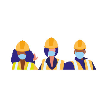 Industrial workers working with face mask