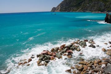 Widok na zatokę - Monterosso Al Mare, Liguria, Włochy