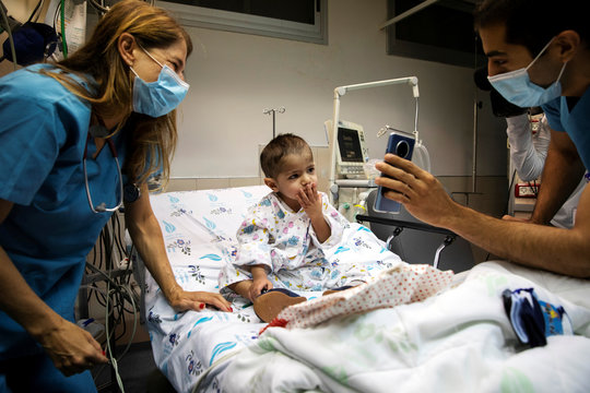 Palestinian boy in Israel's Wolfson Medical Center before reuniting with his family in the Palestinian West Bank after a two months of separation due to the COVID-19 lockdown