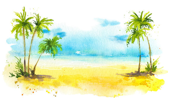Summer beach with palm trees, watercolor background
