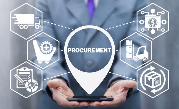 Procurement Management Business Concept. Modern Supply Chain Logistics Delivery Technology.