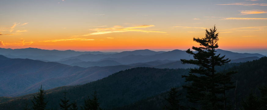 Autumn sunset at the Smoky Mountain national Park Clingmans Dome