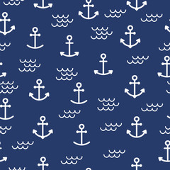 Summer seamless pattern with anchors. Cute sea background. Perfect for wrapping paper, textile and web design