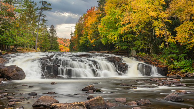 Autumn at the Buttermilk Falls in the Adirondack Mountains - New York