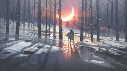 Keuken foto achterwand Grandfailure man in winter forest looking at the glowing moon crest, digital art style, illustration painting