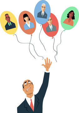 Upset businessman letting go balloons with employees' faces on them as a metaphor for remote work or losing talents, EPS 8 vector illustration