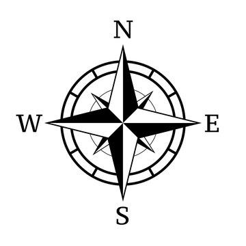 Vintage compass icon.Vector illustration.Compass navigation illustration.Rose icon.